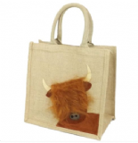 Medium Highland Cow Jute Shopping Bag